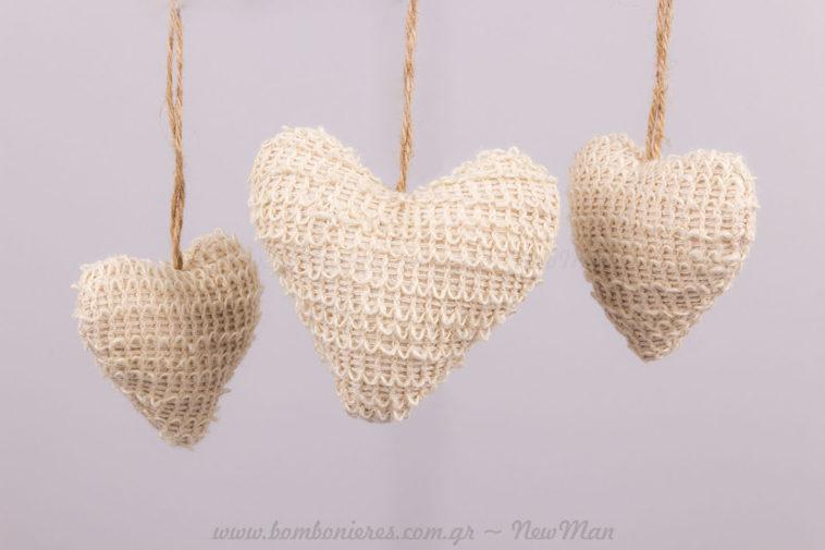 Καρδιές μπεζ μικρή-μεγάλη