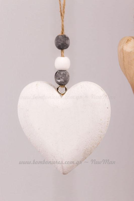 Καρδιά ξύλινη λευκή