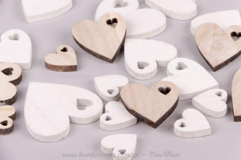 Καρδιές λευκές & μπεζ