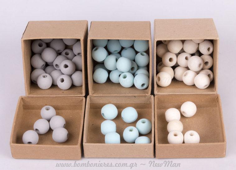 Χάντρες γκρι, γαλάζιες και λευκές!