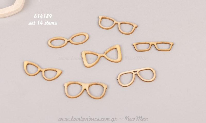 Μίνι ξύλινα γυαλιά σε δάφορα σχέδια (Σετ με 14)