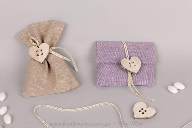 Μπομπονιέρες με ξύλινα κουμπιά καρδιές