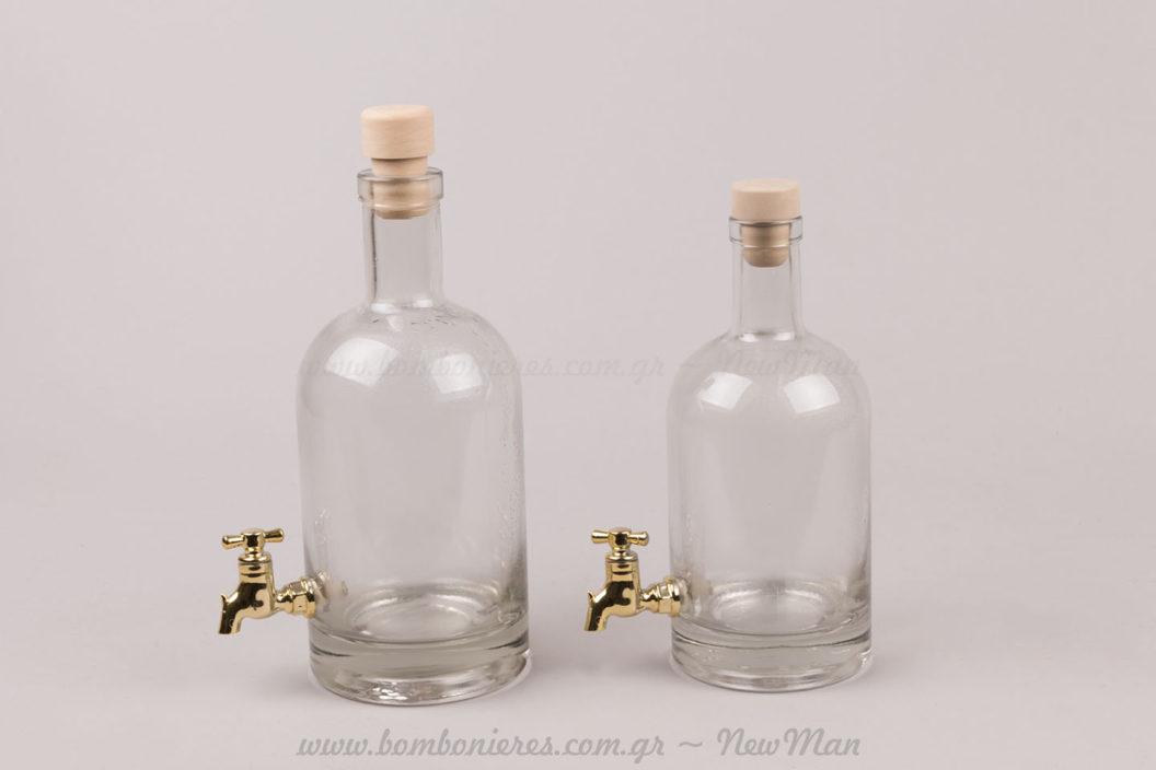Γυάλινα μπουκάλια με βρυσάκι