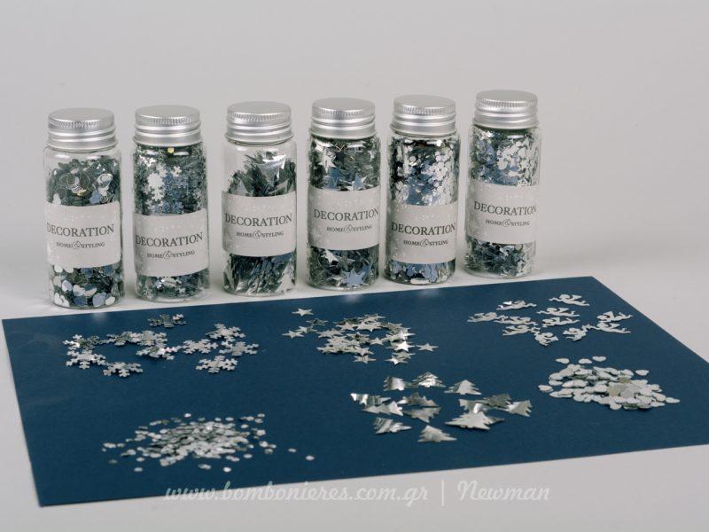 Κονφετί σε σχέδια και σε ασημί χρώμα confetti silver asimi