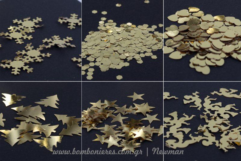 confetti chriso schedia κονφετί σε χρυσό χρώμα και σχέδια