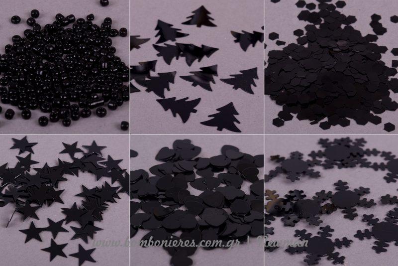 Κονφετί σε σχέδια και σε μαύρο χρώμα confetti black mavro
