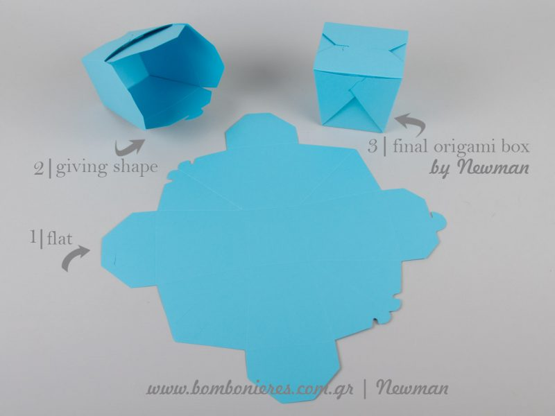 stages from flat to final origami box newman