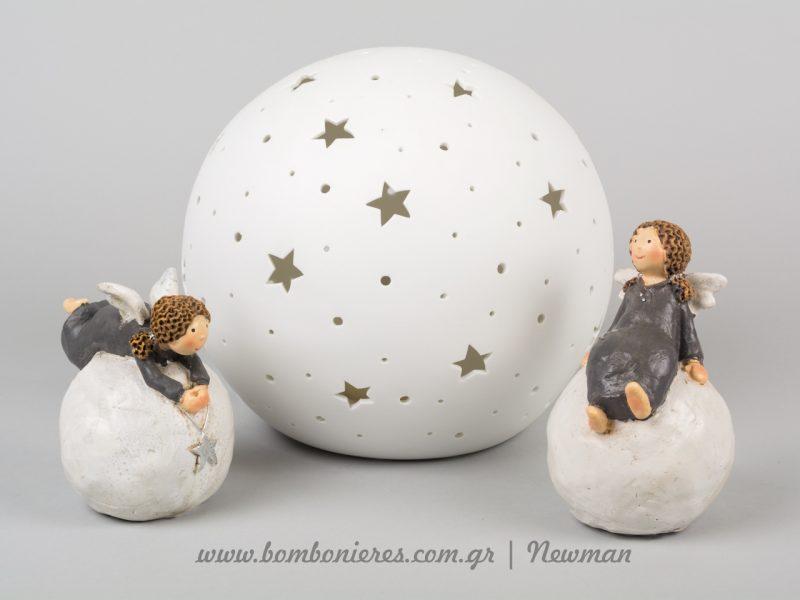 αγγελάκια διακοσμητικά σε μπάλα και φωτιστικό aggelakia se mpala kai fotistiko sfaira me asteria