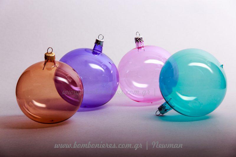 Διάφανες χρωματιστές μπάλες diafanes chomatistes xristougenniatikes mpales