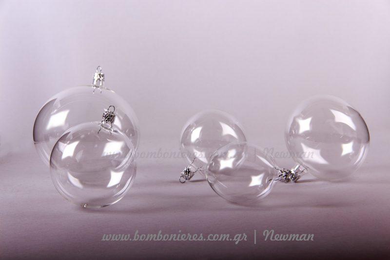 Διάφανες χριστουγεννιάτικες μπάλες diafanes xristougenniatikes mpales newman