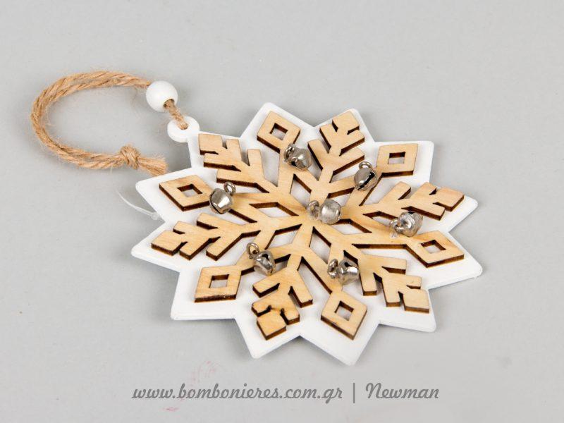 Ξύλινα κρεμαστά στολίδια χιονονιφάδες kremasta xilina xiononifades