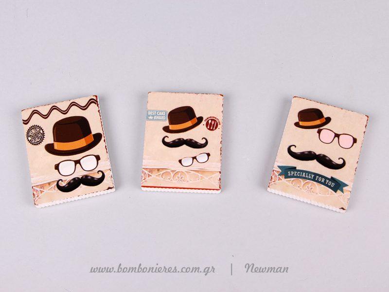μαγνητάκια με μουστάκια magnitakia newman bomboniere