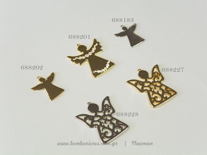 Μεταλλικά αγγελάκια για γούρια metallika kremasta aggelakia gouria