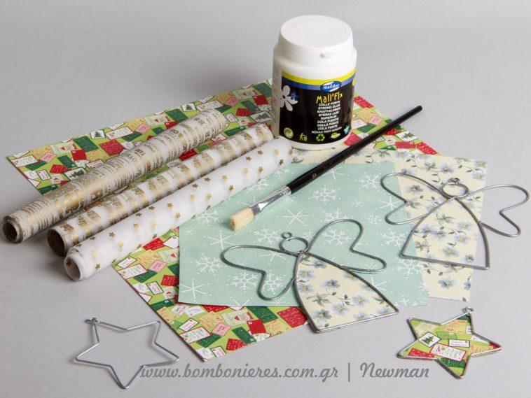 Μεταλλικά σχήματα και χαρτιά χειροτεχνίας metallika sximata xartia xeirotexnias