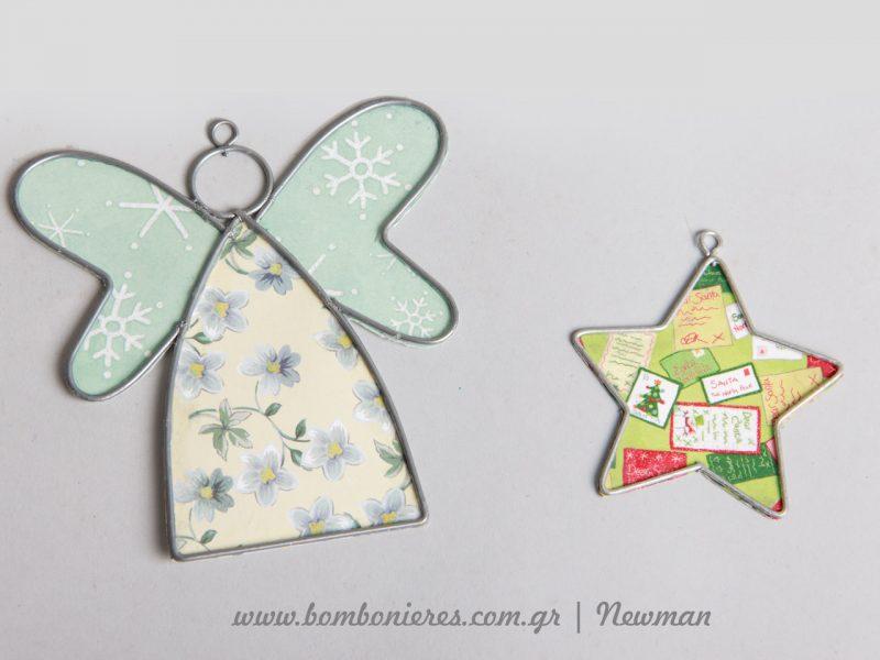 Άγγελος και αστέρι μεταλλικά ντυμένα με χαρτί χειροτεχνίας