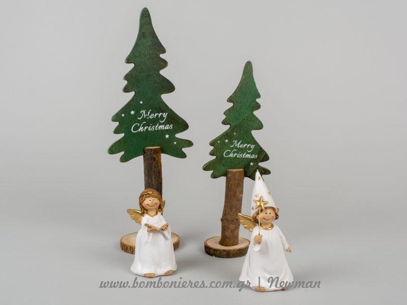 χριστουγεννιάτικα διακοσμητικά αγγελάκια και δεντράκια