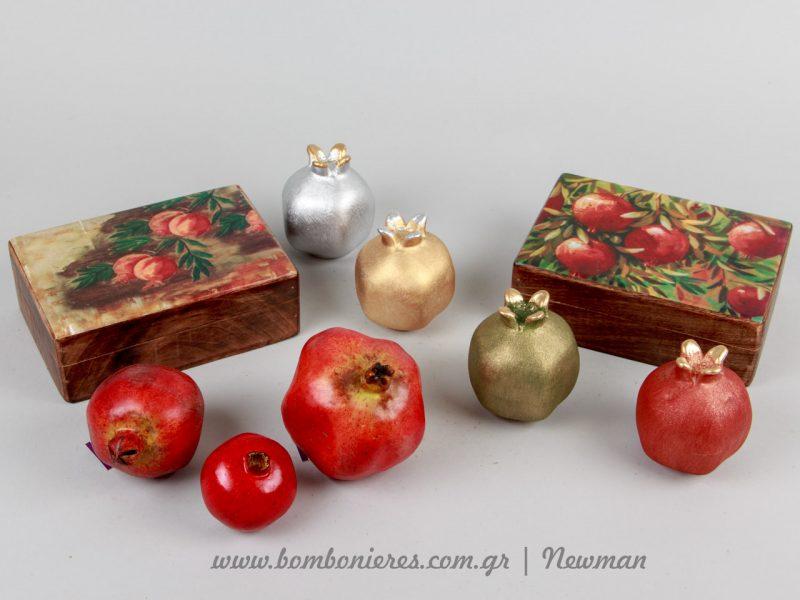 Ξύλινα κουτιά με θέμα ρόδια xilina handmade koutia rodia