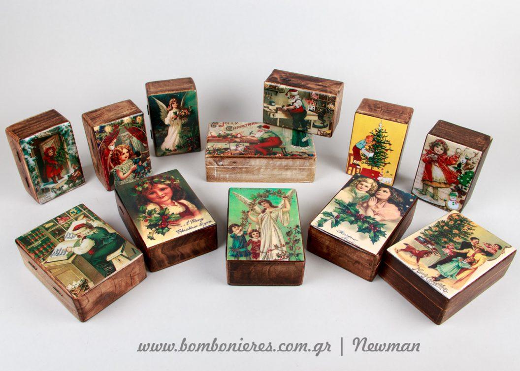 ξύλινα κουτιά χριστουγεννιάτικα xilina koutia xristougenniatika handmade