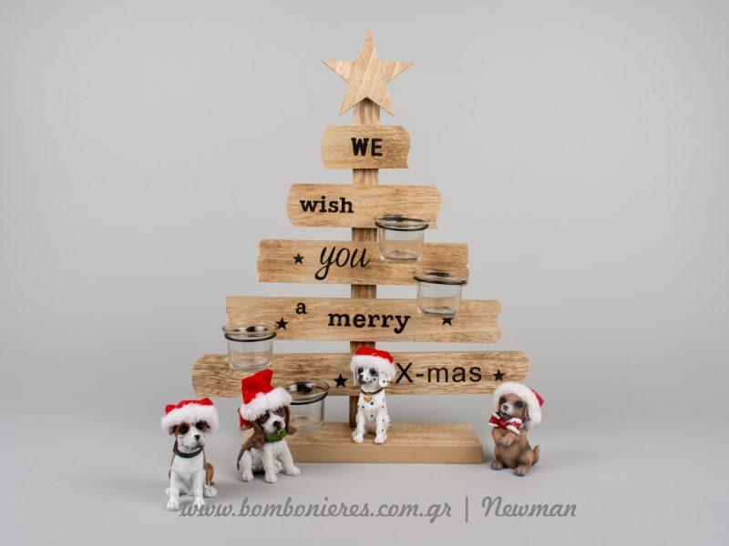 Ξύλινο δέντρο και κεραμικά σκυλάκια xilino xristougenniatiko dentro diakosmitika skilakia