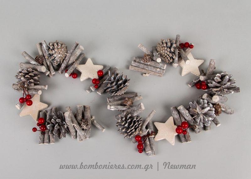 Χριστουγεννιάτικη γιρλάντα με κουκουνάρια xristougenniatiki girlanta me koukounaria