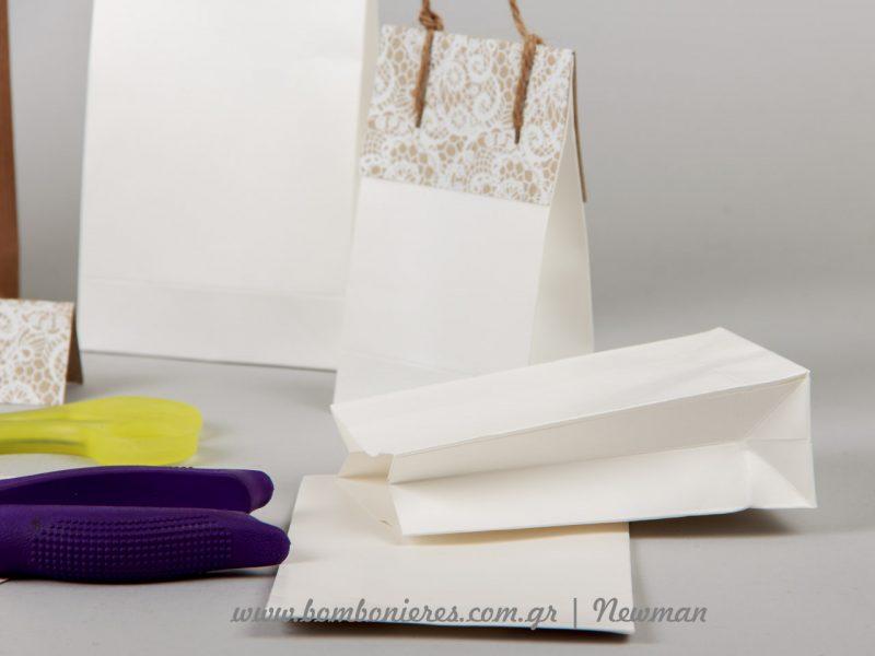 Λευκές σακούλες για DIY συσκευασία δώρου