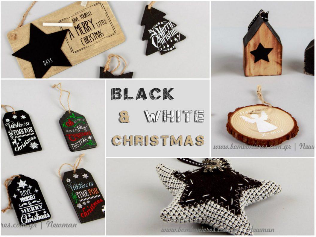 Χριστουγεννιάτικος στολισμός σε άσπρο μαύρο black white christmas