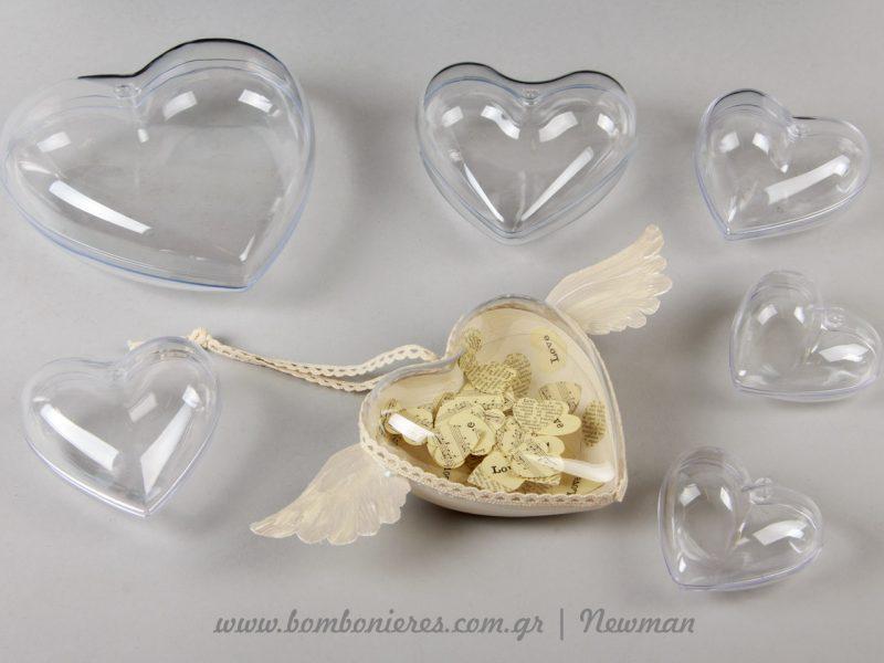 Διάφανες καρδιές που ανοίγουν στη μέση