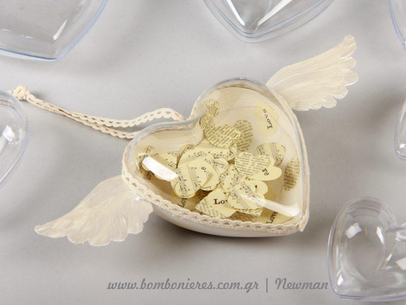 Διάφανη καρδιά με φτερά και κονφετί diafani kardia ftera confetti