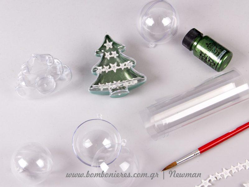 Κατασκευή με Διάφανα στολίδια σε σχήμα έλατο και μπάλα χριστουγεννιάτικη elato mpales