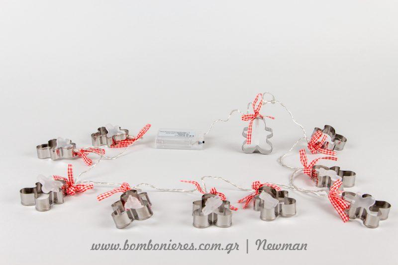 Γιρλάντα LED λαμπάκια μπαταρίας με κουπ πατ σε σχήμα χιονάνθρωπος