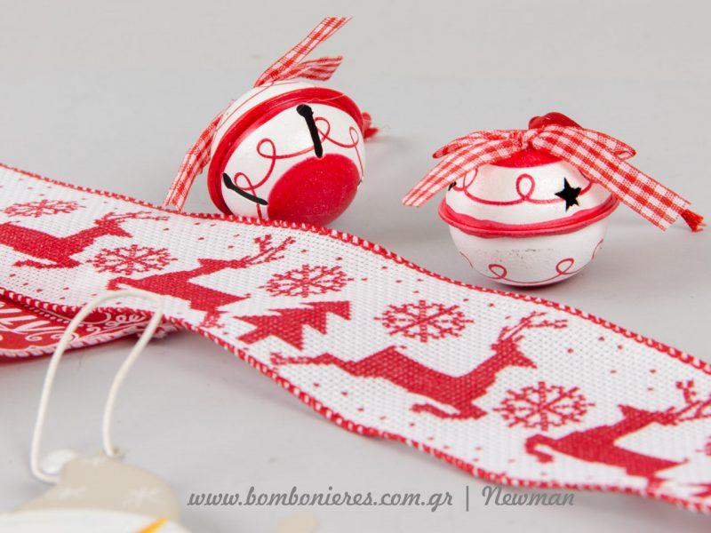 Χριστουγεννιάτικα κουδουνάκια με καρό κορδέλα