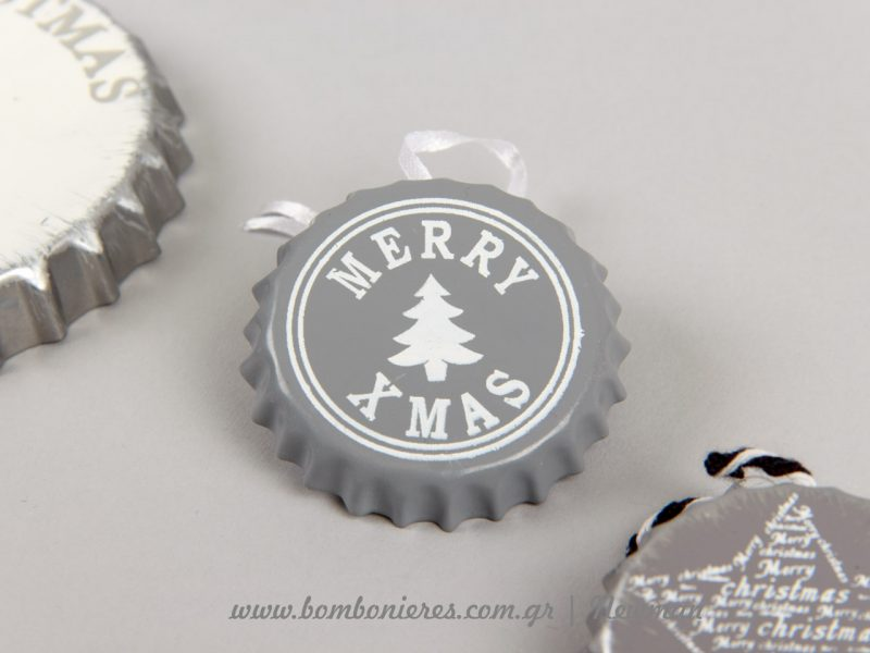 Merry Christmas σε μεταλλικά καπάκια μπύρας metallika kapakia mpiras xristougenniatika