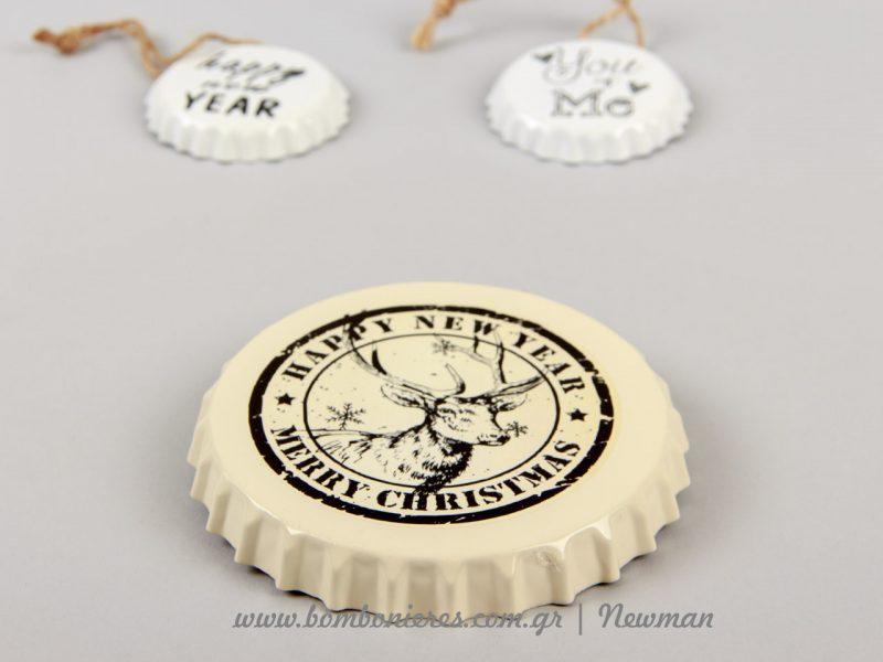 Χριστουγεννιάτικο στολίδι μεταλλικό καπάκι μπύρας metallika kapakia mpiras xristougenniatika