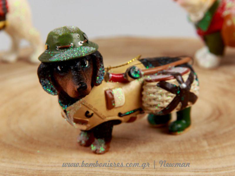 Σκύλος κομάντο με πλήρη εξάρτηση για ένα πάρτυ με military concept