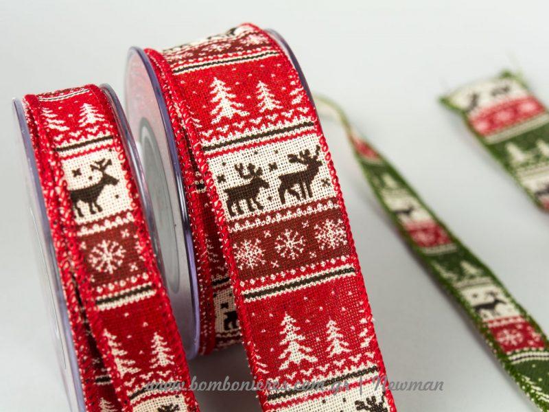 χριστουγεννιάτικες κορδέλες με σχέδια του δάσους και ελαφάκια xristougenniatikes kordeles elafakia
