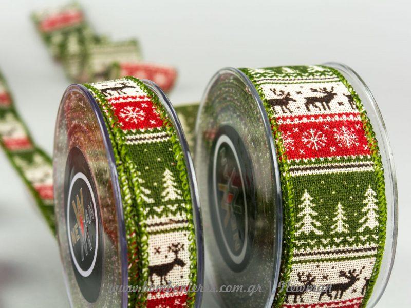 χριστουγεννιάτικες κορδέλες με σχέδια του δάσους και ελαφάκια πράσινες xristougenniatikes kordeles elafakia prasines