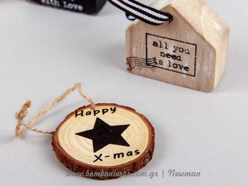 Φέτες κορμού δέντρου με χριστουγεννιάτικα σχέδια