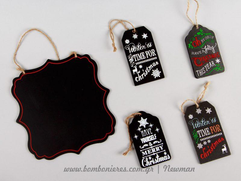 Ξύλινες ετικέτες σε σκούρα χρώματα, χριστουγεννιάτικες, christmas wooden tags