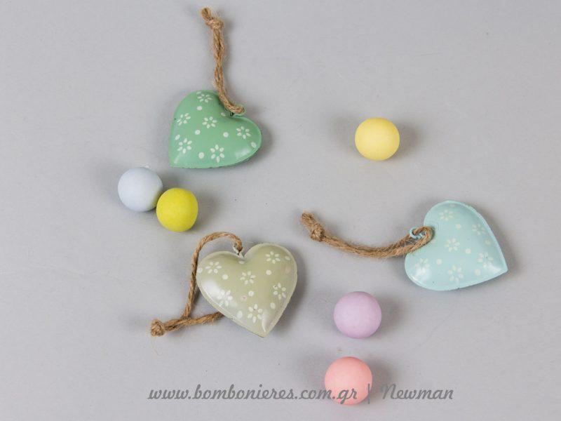 Μεταλλικές καρδιές παστέλ metallikes kardies pastel