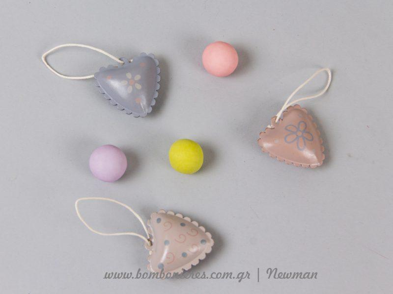 Μεταλλικές καρδιές πομπέ metallikes kardies pastel