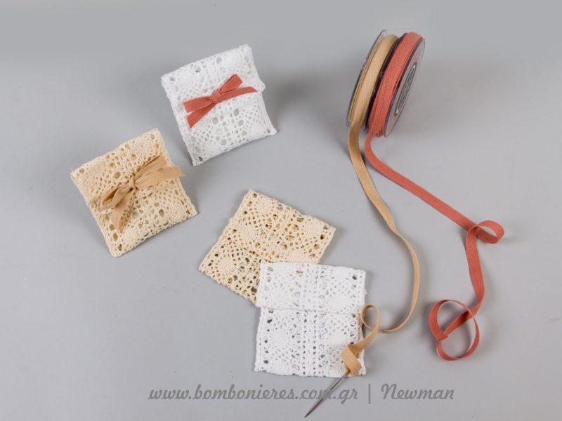 υλικά για μπομπονιέρες με πουγκιά από δαντέλα και κορδέλες mpomponieres dantela pougkia