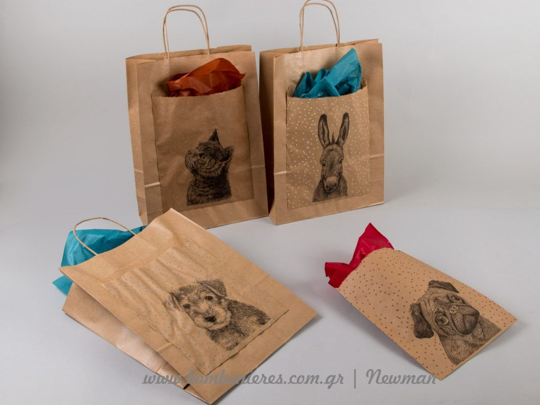 paper bags dog cats
