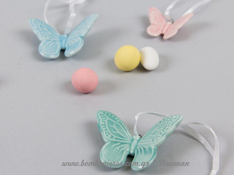 πορσελάνινες πεταλούδες porselanina diakosmitika petaloudes