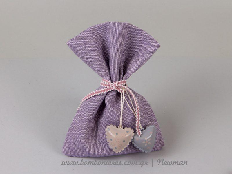 λιλά πουγκί για μπομπονιέρες pougki lino lilac wedding christenings favours