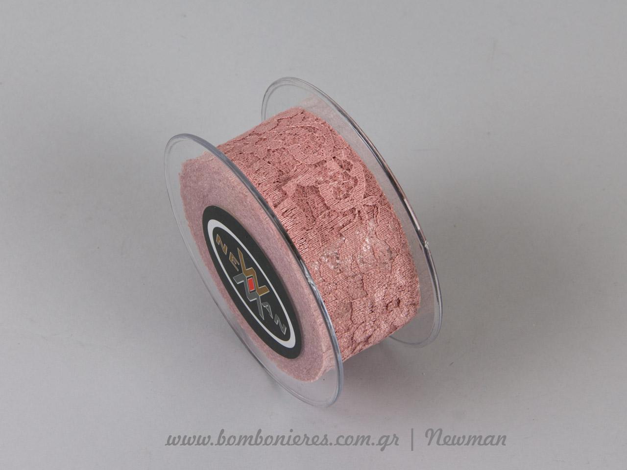venezzia dantela 45mm 092064 δαντέλα παλιό ροζ χρώμα