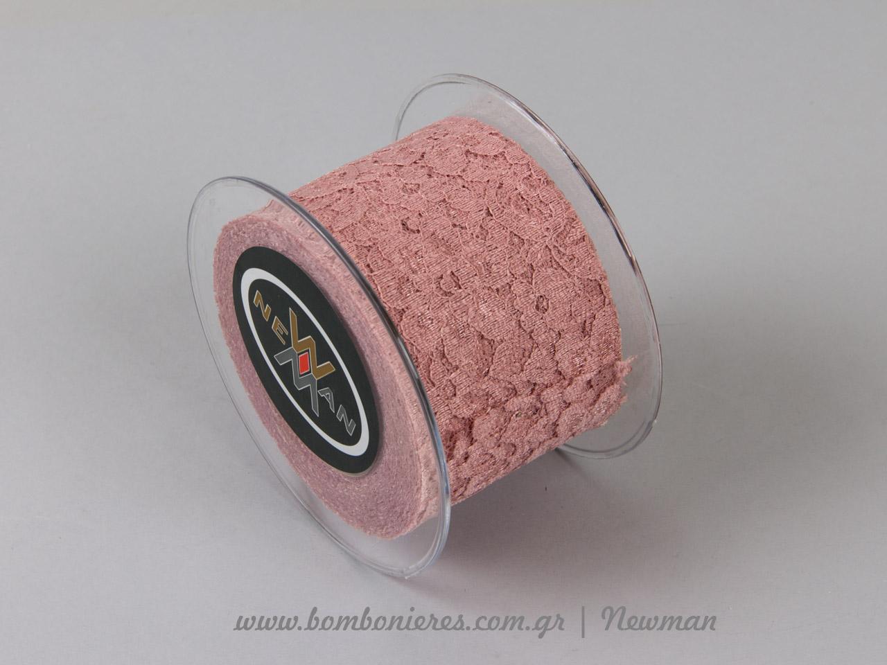venezzia dantela 67mm 092065 δαντέλα παλιό ροζ