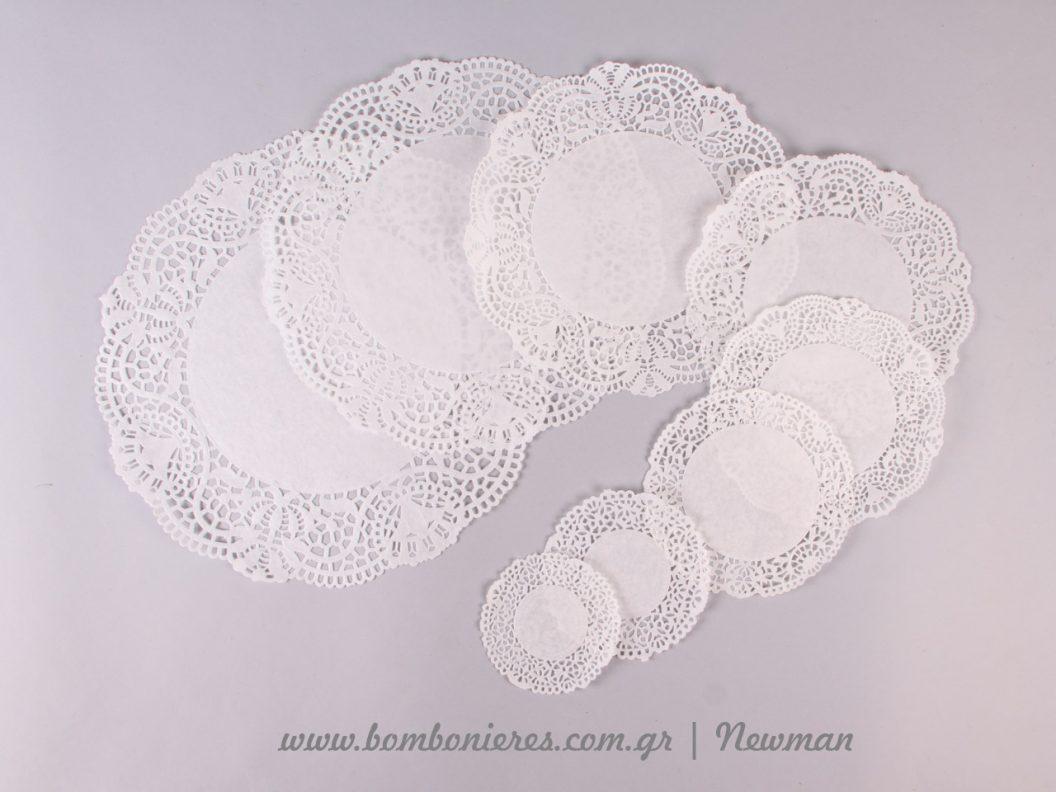 lefka xartina semedakia souver λευκά πετσετάκια σουβέρ δαντέλες