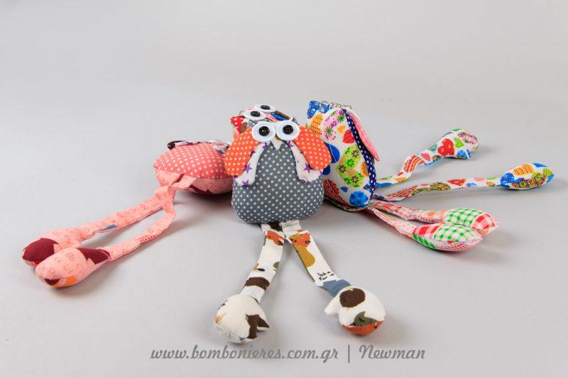 Χρωματιστές υφασμάτινες κουκουβάγιες μπρελόκ mprelok koukouvagies floral ifasma