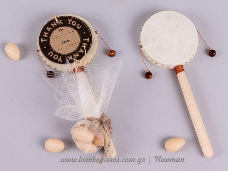 Τύμπανο με κρεμαστά μπαλάκια rattle drum timpano paixnidi koudounistra