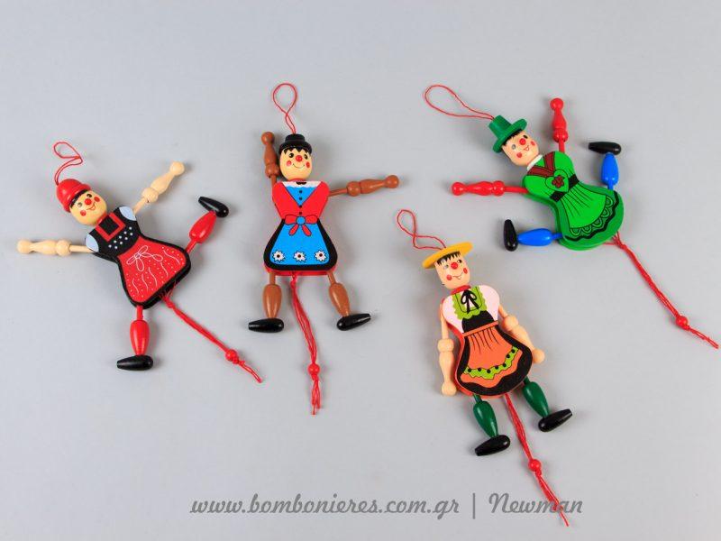 Ξύλινα παιχνίδια με κορδονάκι xilina paixnidia lampades mpomponieres